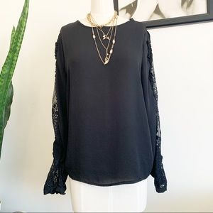Who What Wear Black Lace Arm Top